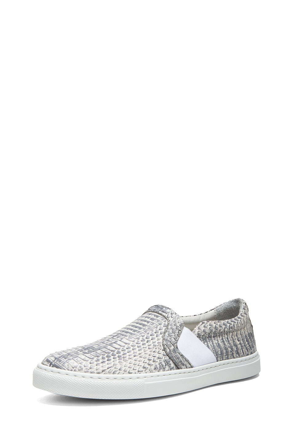 Image 2 of Lanvin Pull On Embossed Leather Sneakers in Grey
