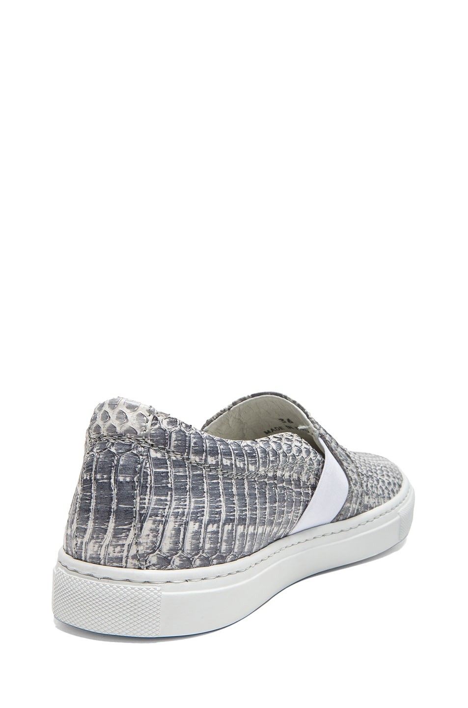 Image 3 of Lanvin Pull On Embossed Leather Sneakers in Grey