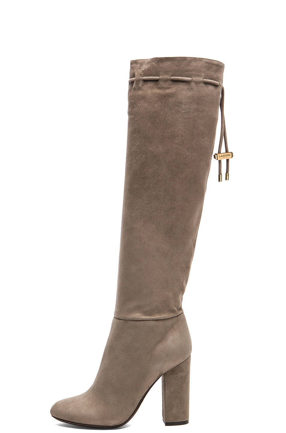 Image 1 of Lanvin Knee High Suede Boots in Mastic