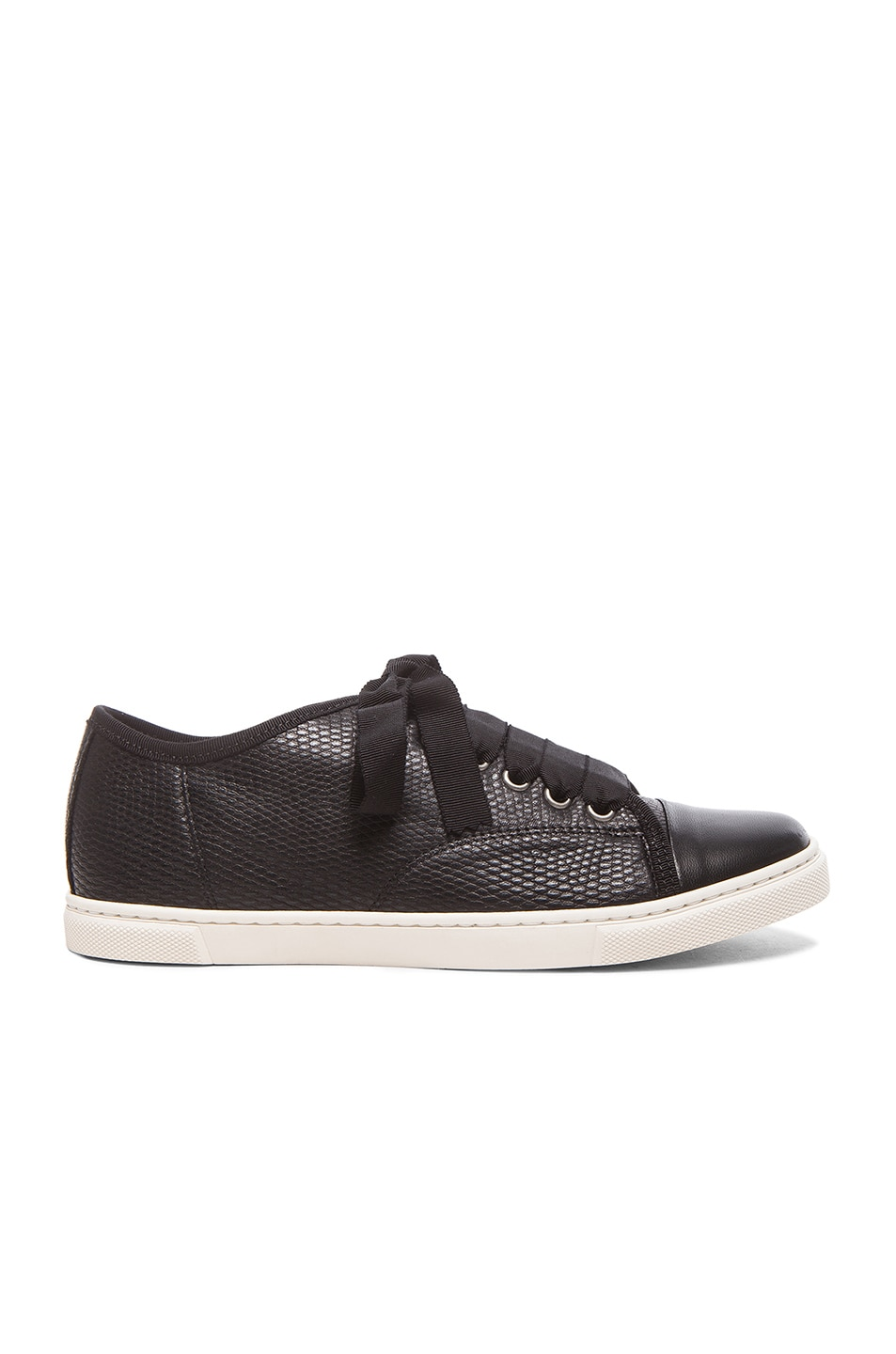Image 1 of Lanvin Low Top Lambskin Sneakers in Black