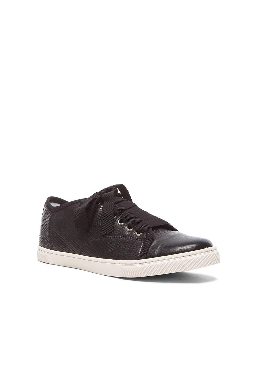 Image 2 of Lanvin Low Top Lambskin Sneakers in Black