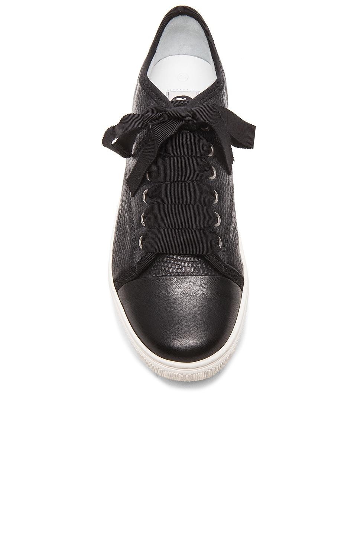 Image 4 of Lanvin Low Top Lambskin Sneakers in Black