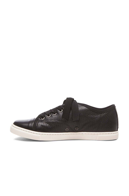 Image 5 of Lanvin Low Top Lambskin Sneakers in Black