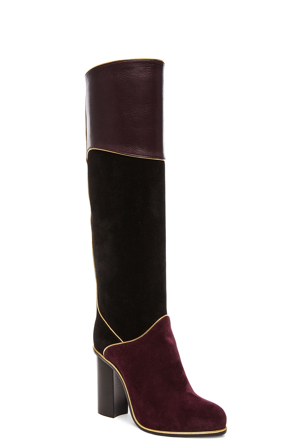 Image 2 of Lanvin Suede Calfskin Piping Boots in Black & Burgundy