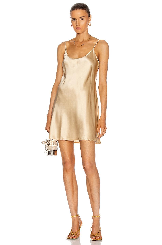 Image 1 of La Perla Silk Short Slip Dress in Beige Stone