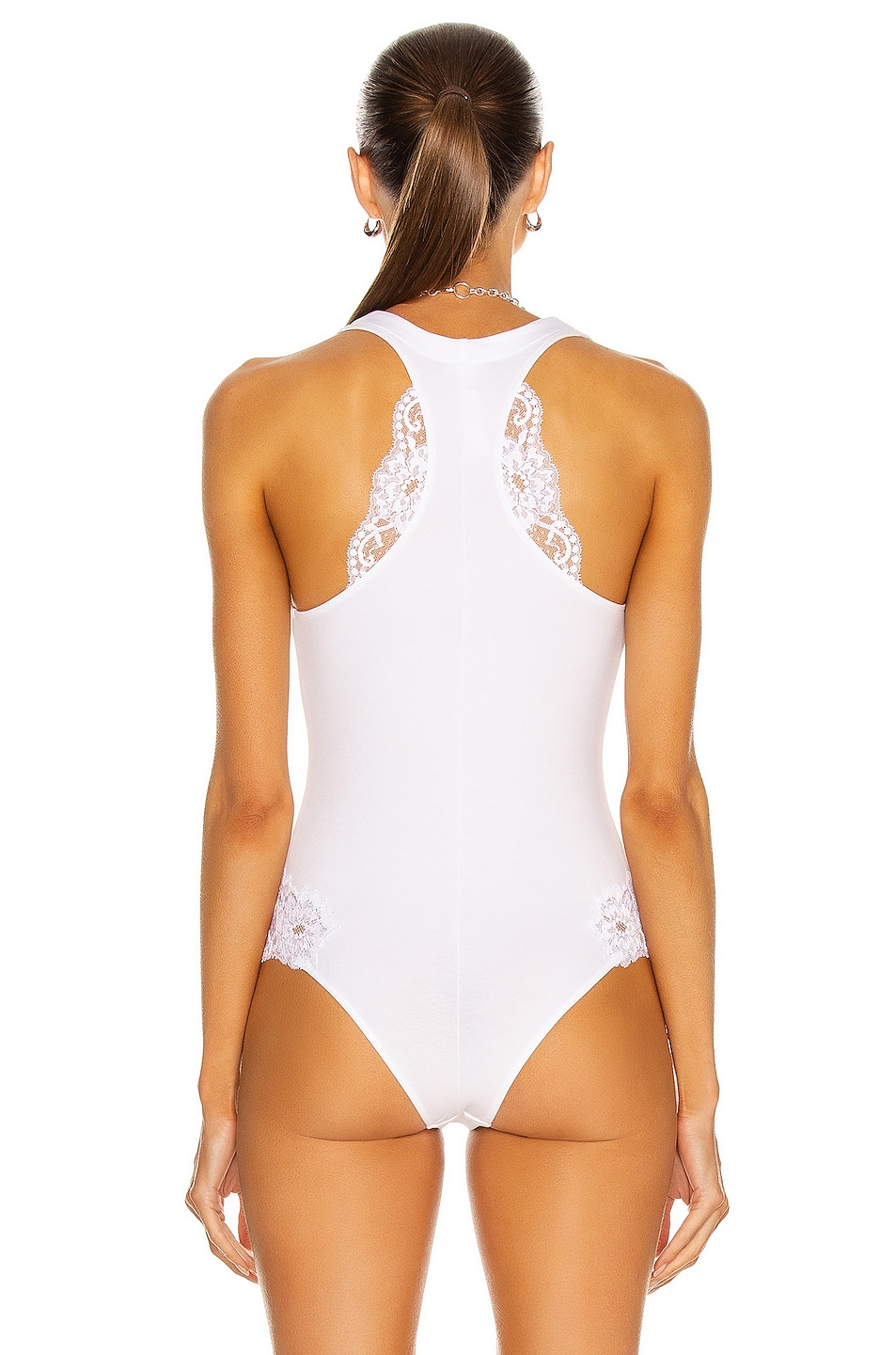 LA PERLA SOUPLE LACE-TRIMMED BODYSUIT, WHITE