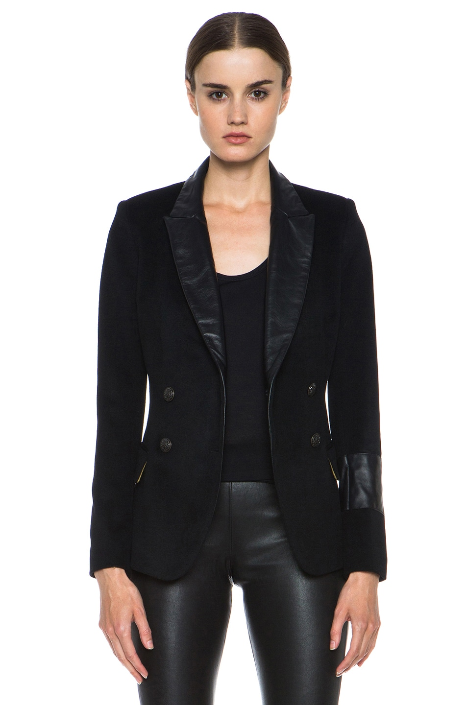Image 1 of Laveer Kadette Wool Blazer with Leather Collar in Black