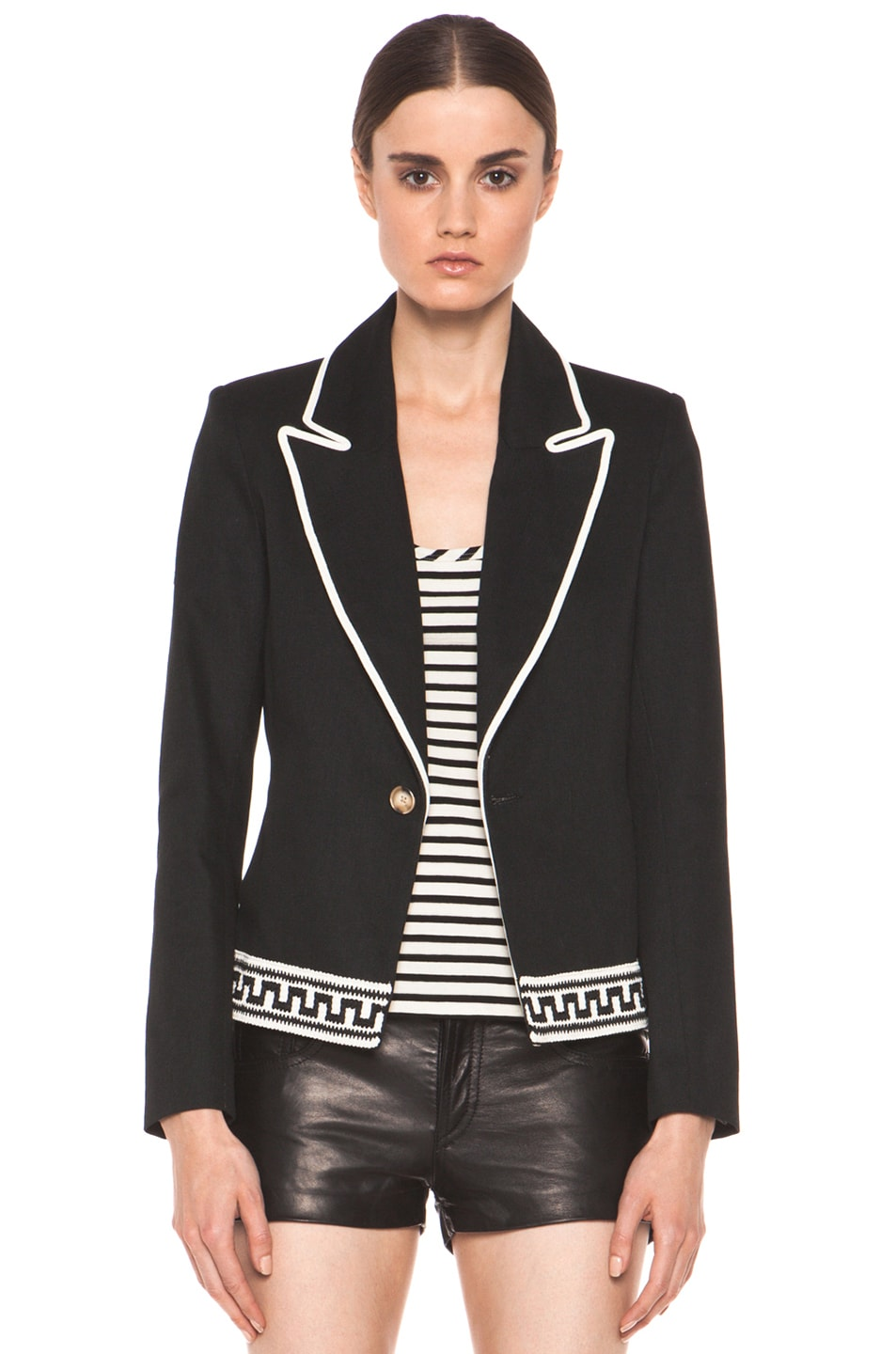 Image 1 of Laveer Border Montage Blazer in Black
