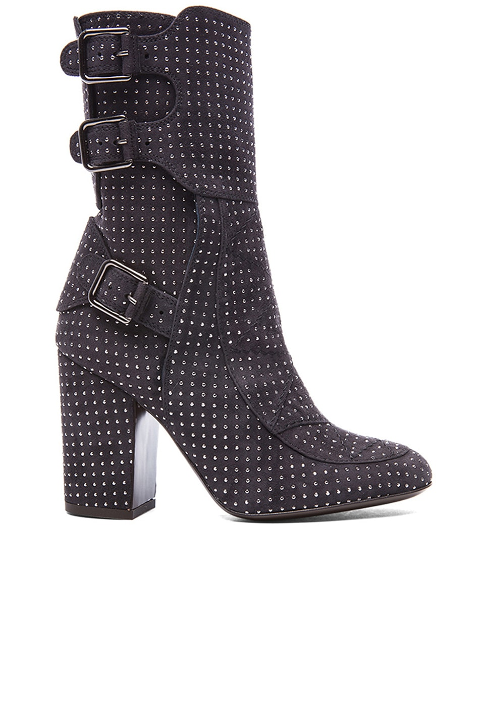Image 1 of Laurence Dacade Merli Suede Studded Boots in Anthracite & Rutenium