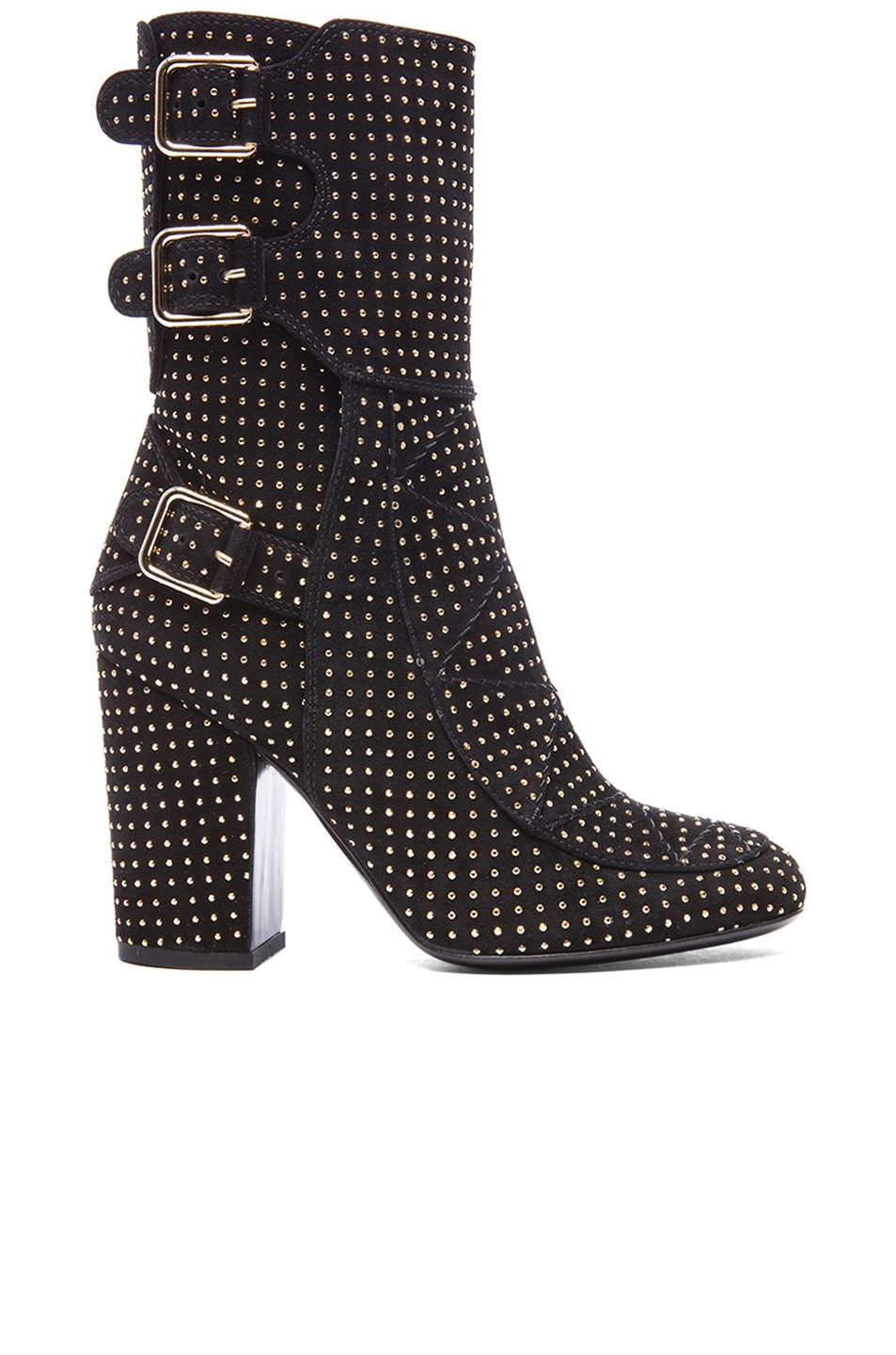 Image 1 of Laurence Dacade Merli Suede Studded Boots in Black & Gold