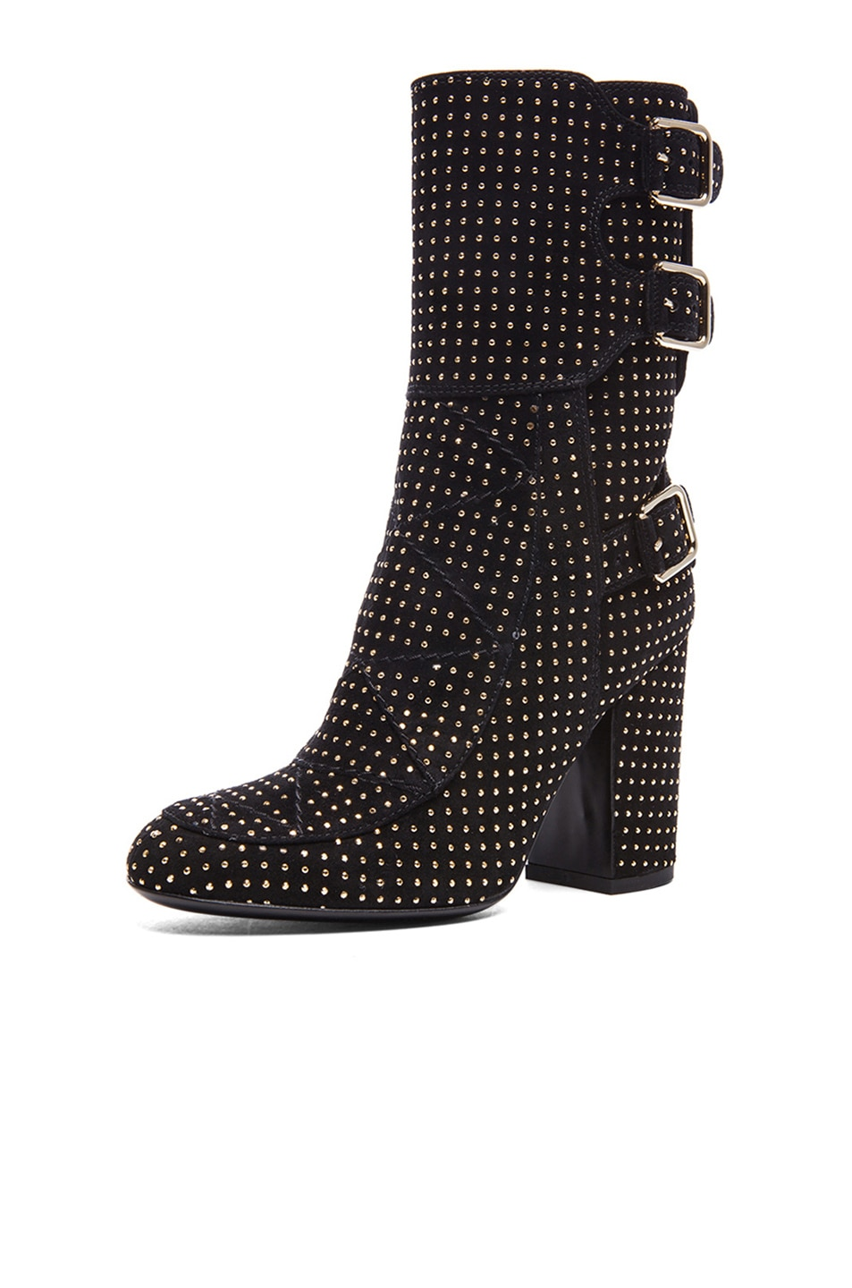 Image 2 of Laurence Dacade Merli Suede Studded Boots in Black & Gold