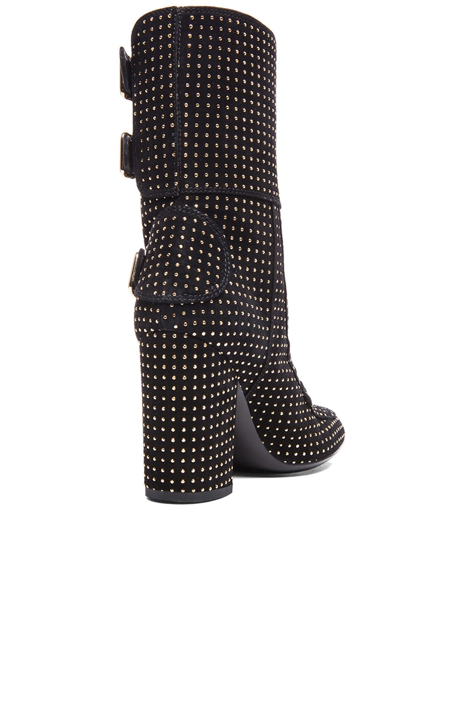 Image 3 of Laurence Dacade Merli Suede Studded Boots in Black & Gold
