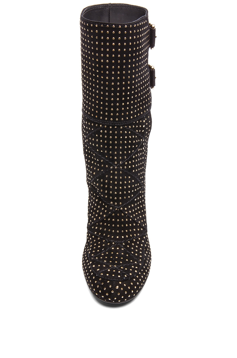 Image 4 of Laurence Dacade Merli Suede Studded Boots in Black & Gold