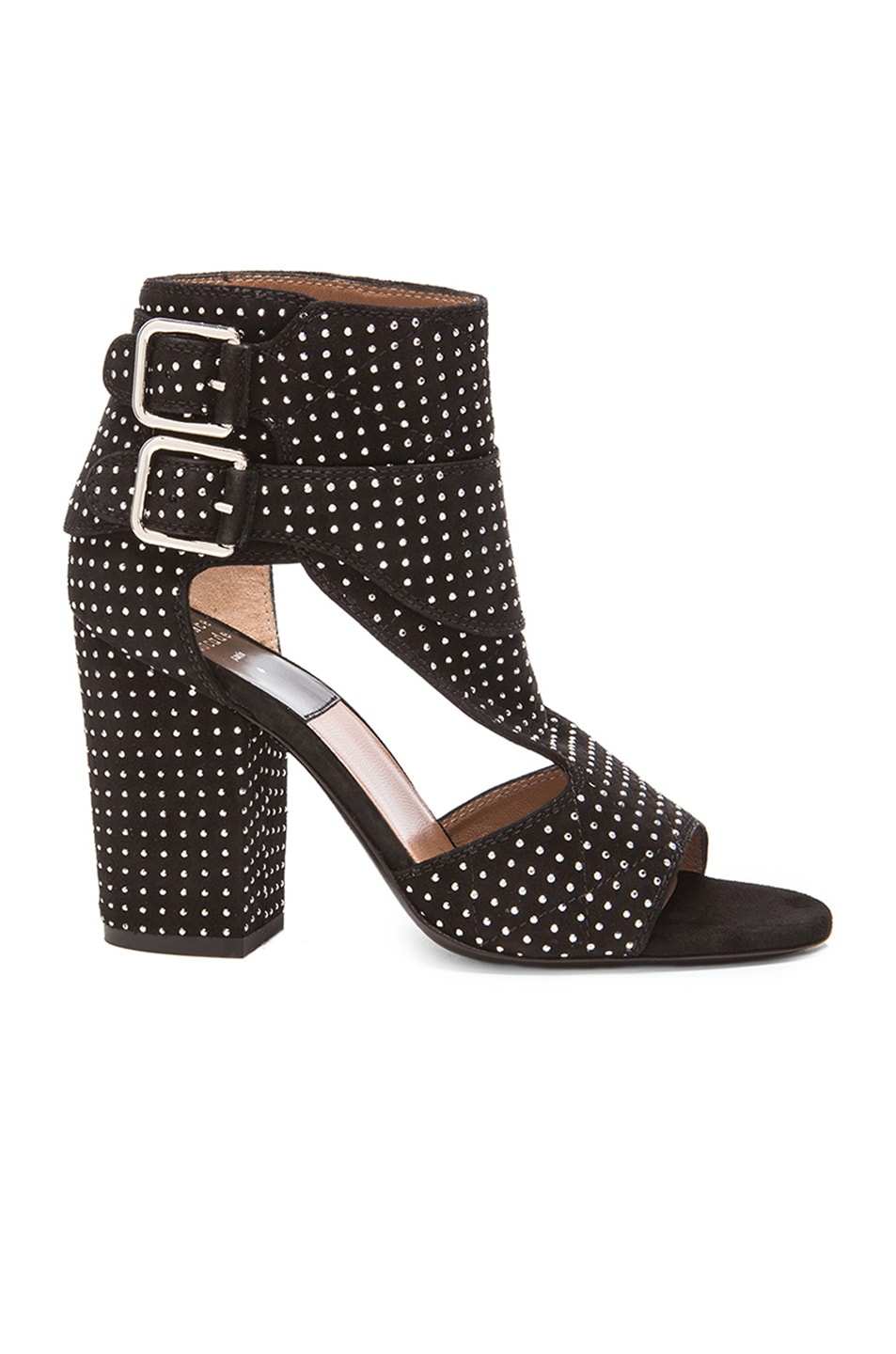 Image 1 of Laurence Dacade Studded Rush Suede Heels in Black & Silver