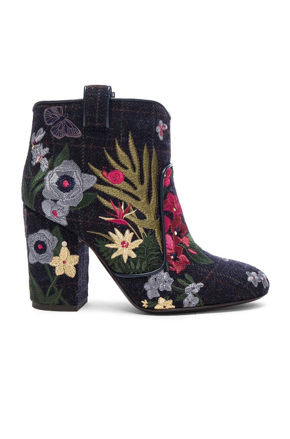 Image 1 of Laurence Dacade Embroidered Wool Pete Booties in Blue & Wine Multi