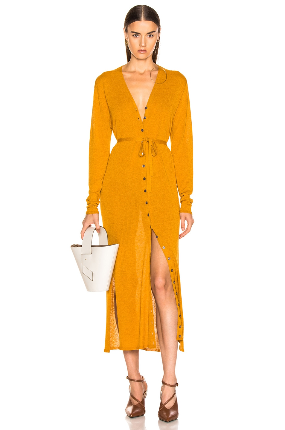 Image 1 of Lemaire V Neck Cardigan Dress in Mustard