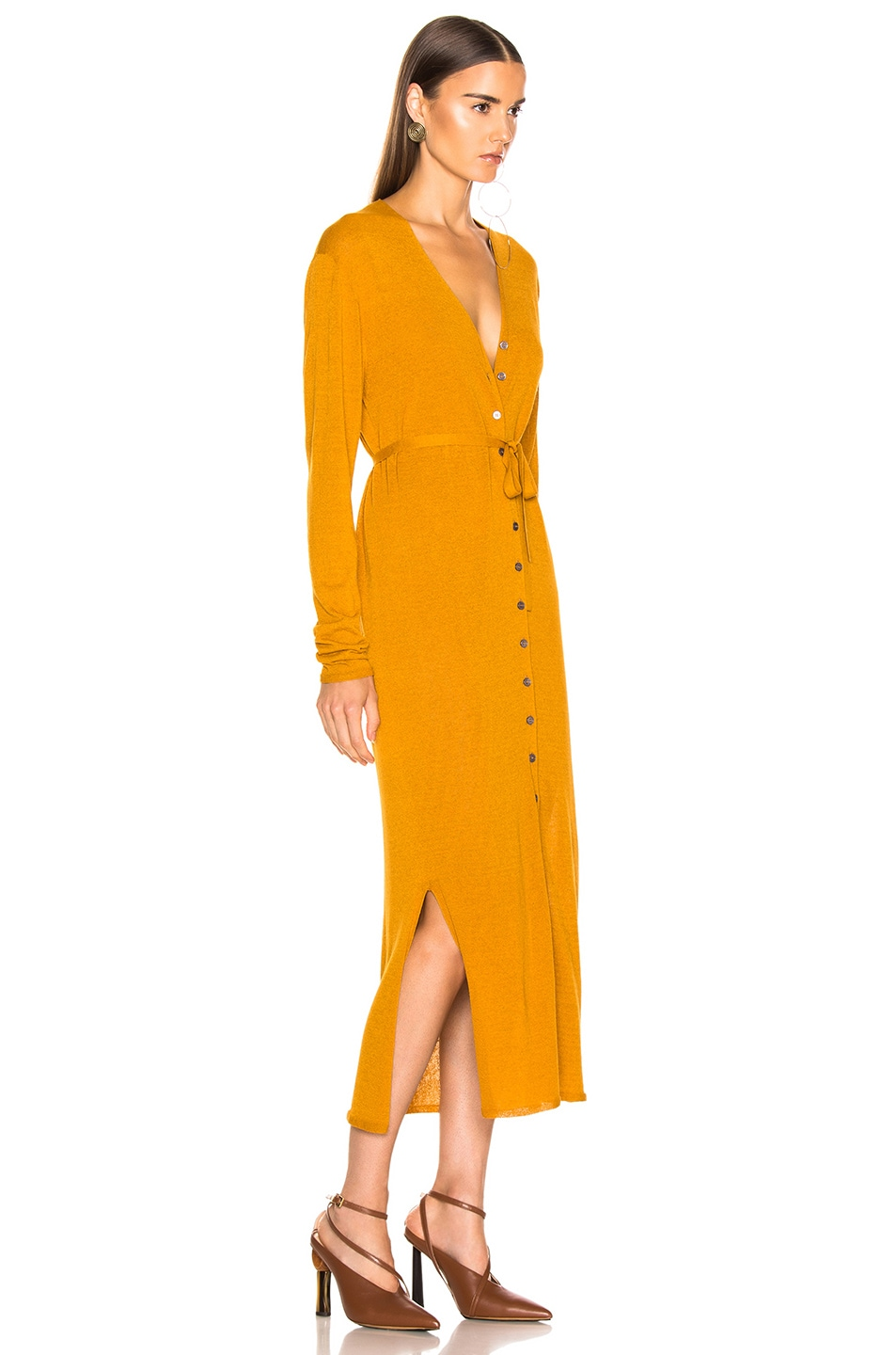 Image 2 of Lemaire V Neck Cardigan Dress in Mustard