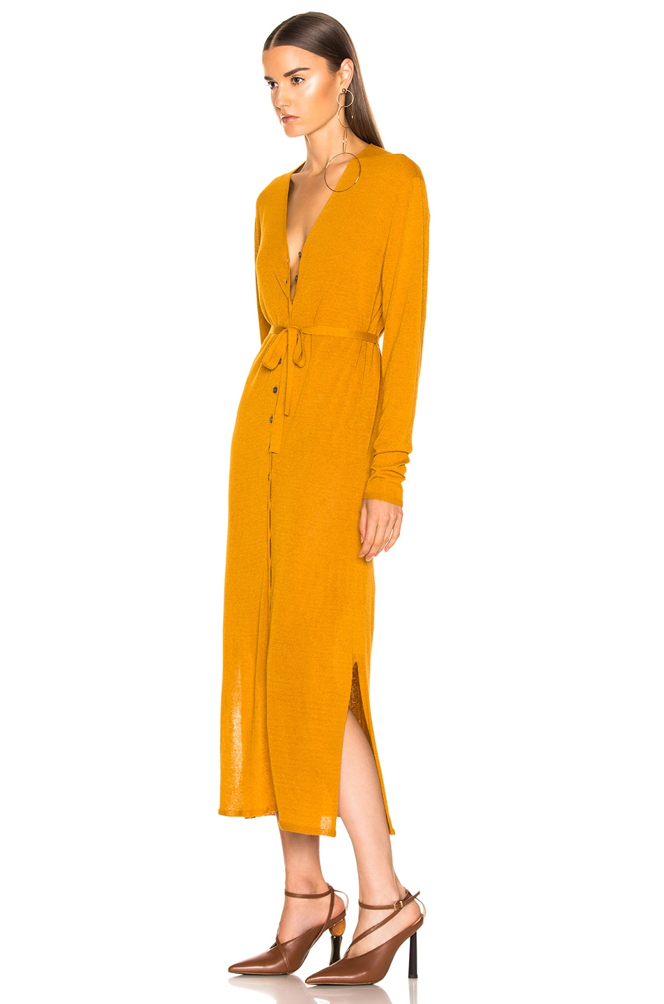 Image 3 of Lemaire V Neck Cardigan Dress in Mustard