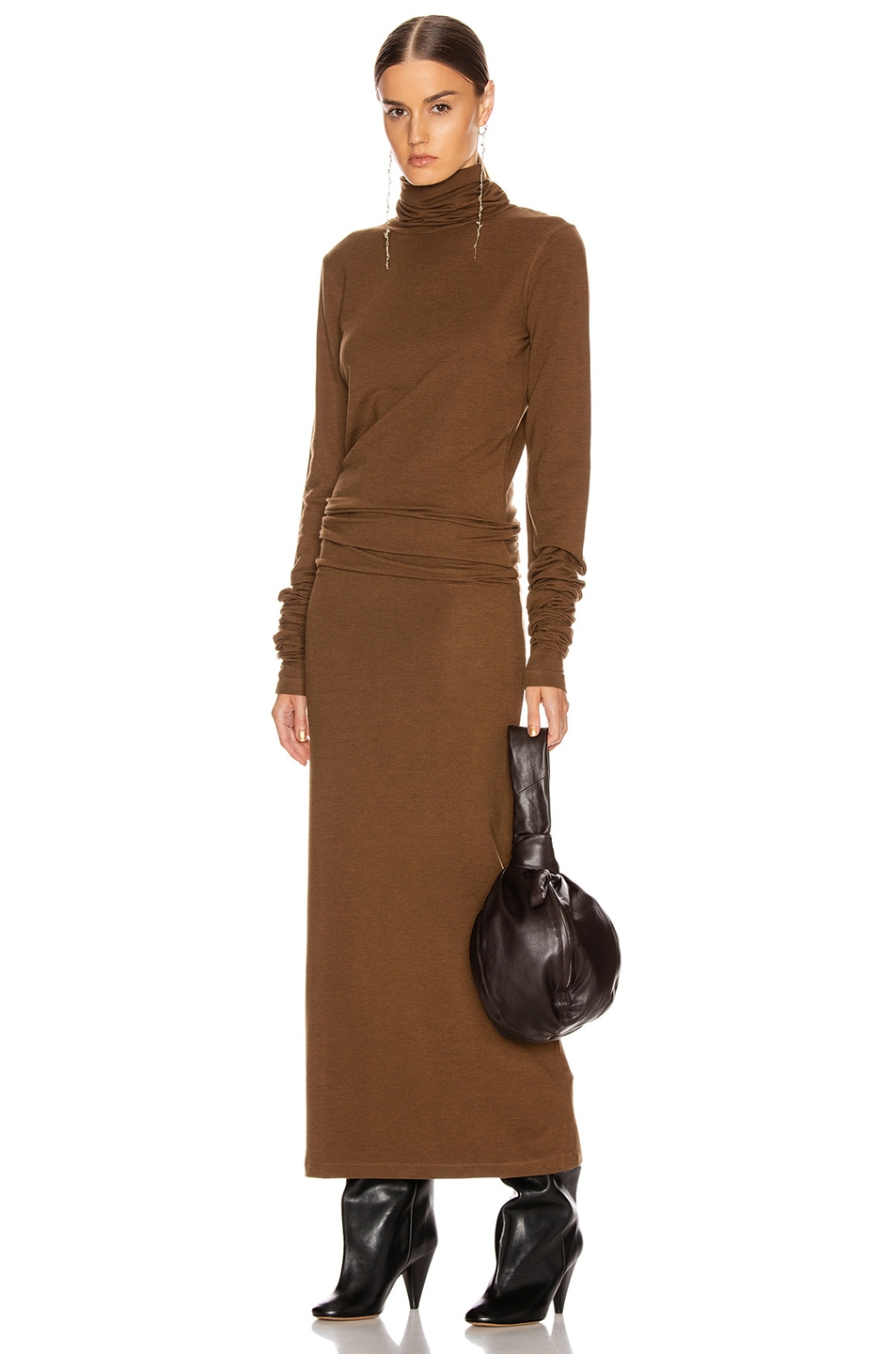 Image 1 of Lemaire Long Turtleneck Dress in Dark Earth