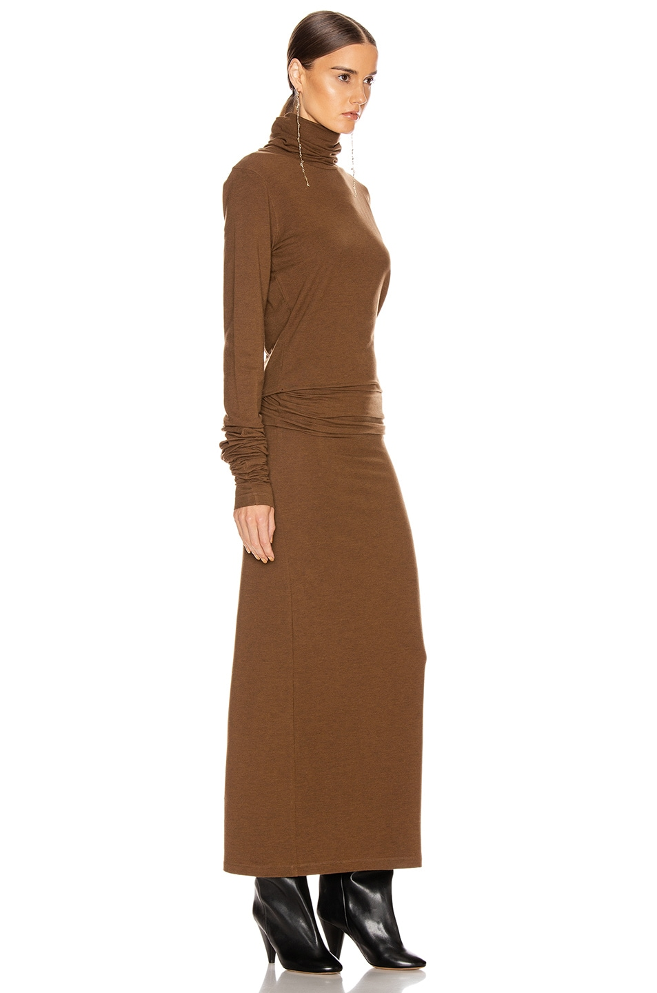 Image 2 of Lemaire Long Turtleneck Dress in Dark Earth