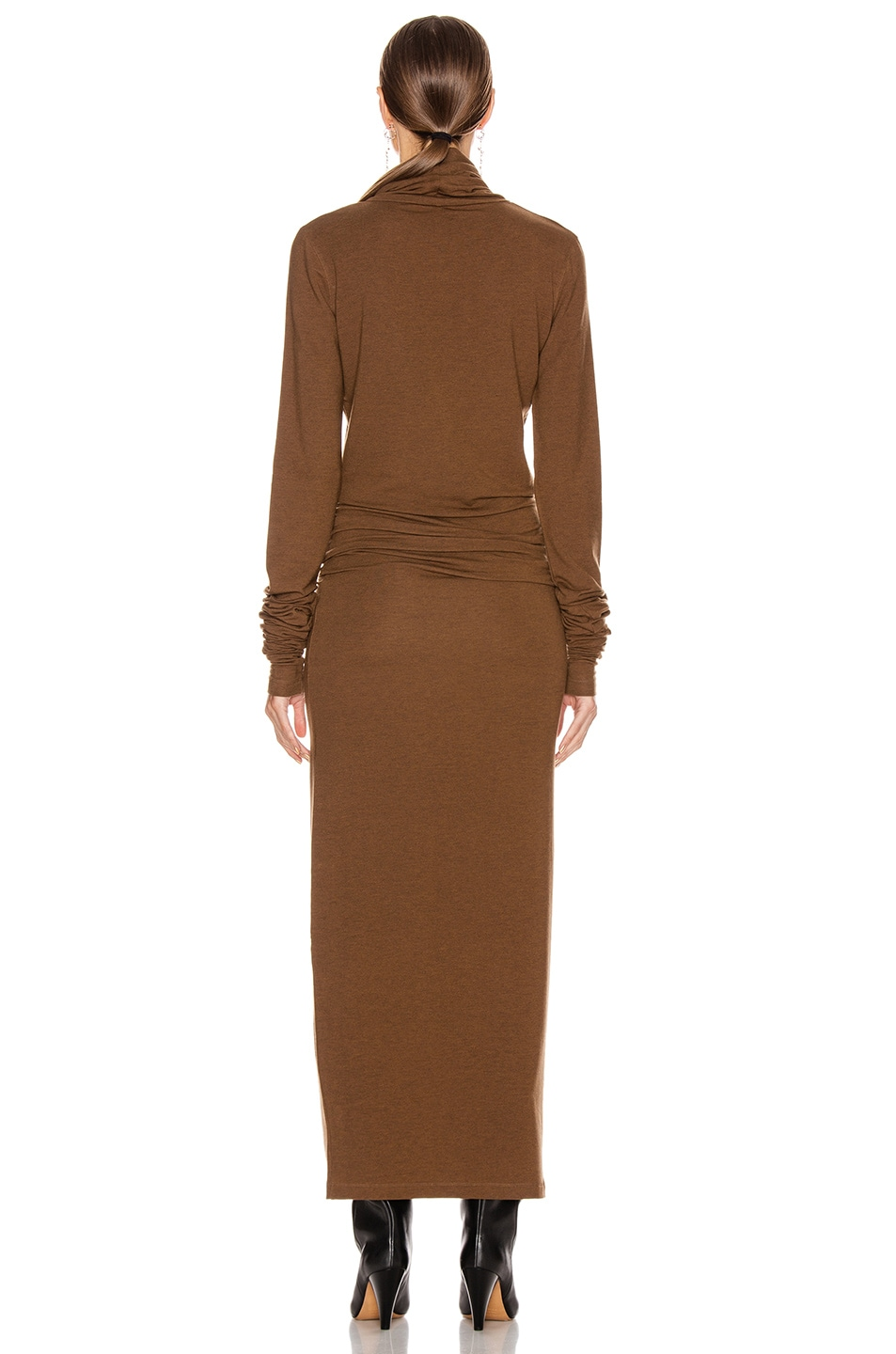 Image 3 of Lemaire Long Turtleneck Dress in Dark Earth