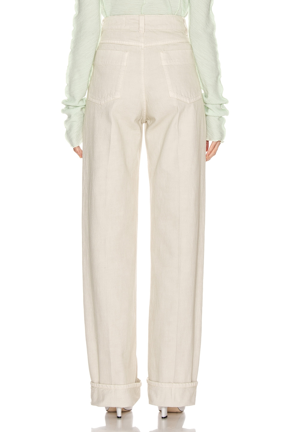 Image 3 of Lemaire High Waisted Jean in Chalk