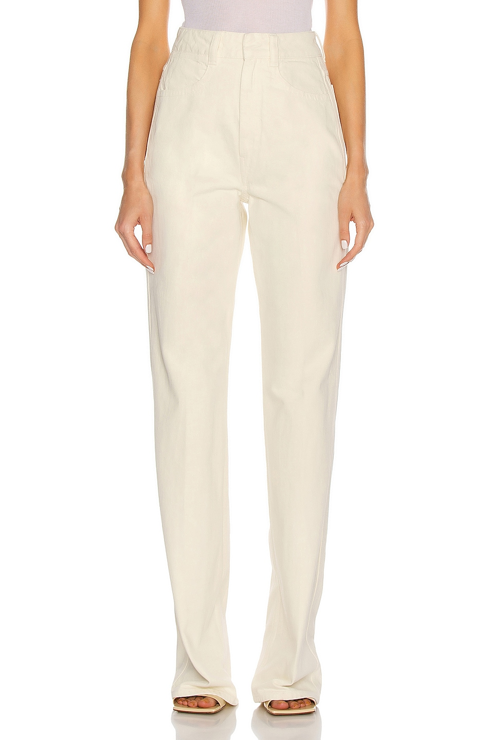 Image 1 of Lemaire Denim High Waisted Pant in Bone White