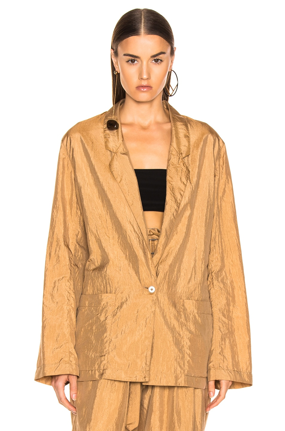 Image 2 of Lemaire Light Single Button Jacket in Fawn Brown