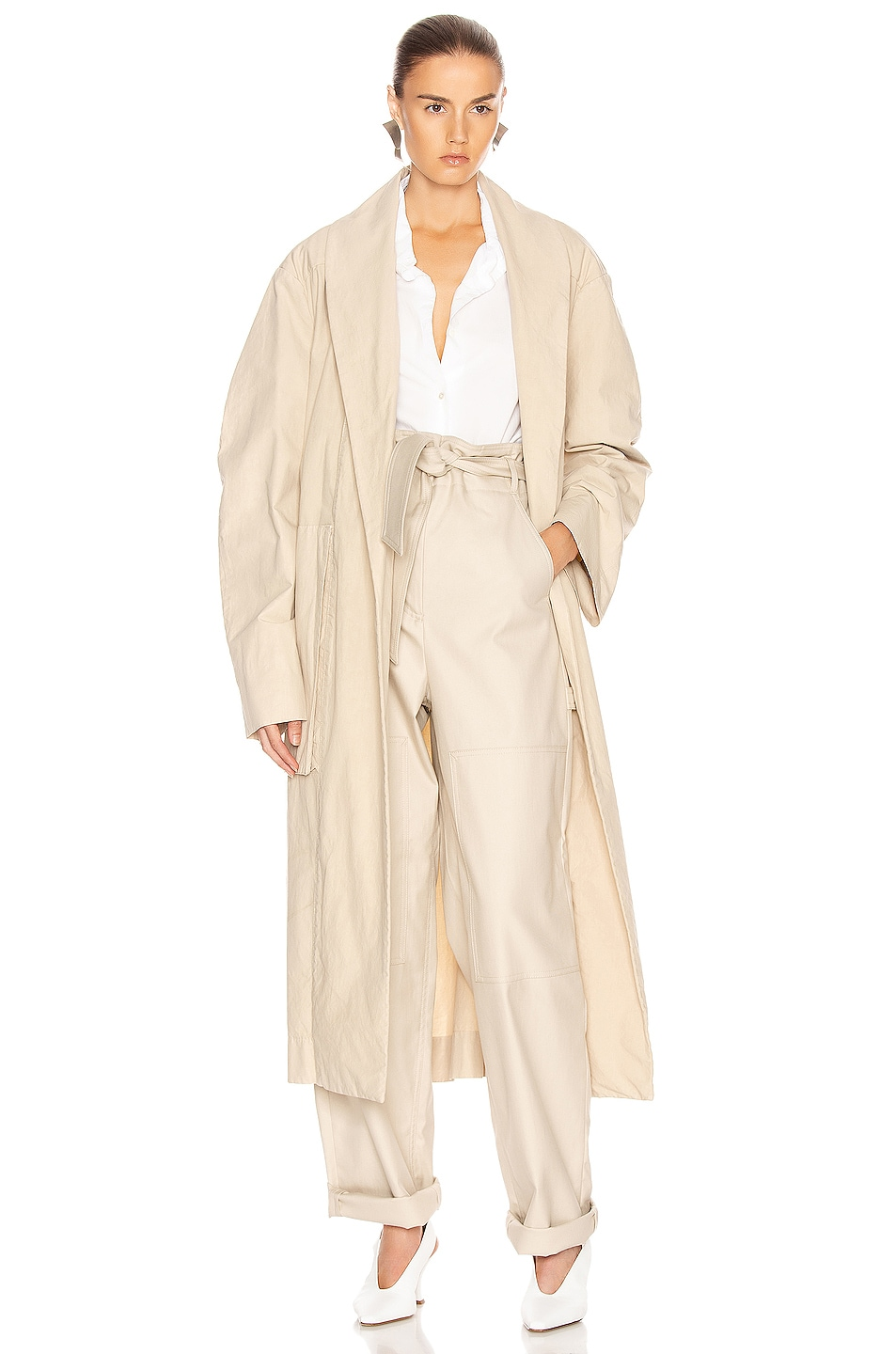 Image 1 of Lemaire Tie Maxi Coat in Mastic