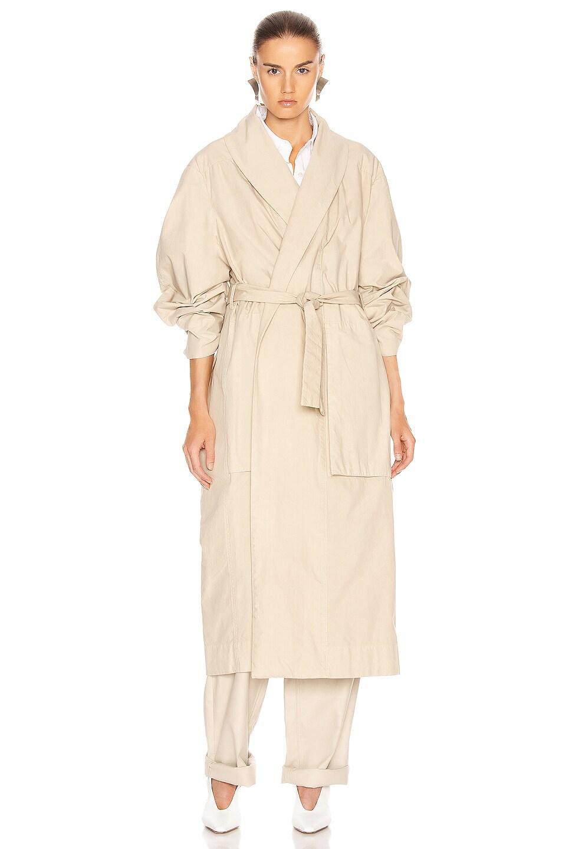 Image 2 of Lemaire Tie Maxi Coat in Mastic
