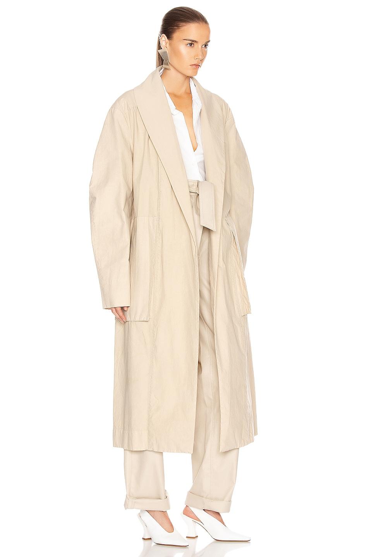 Image 3 of Lemaire Tie Maxi Coat in Mastic