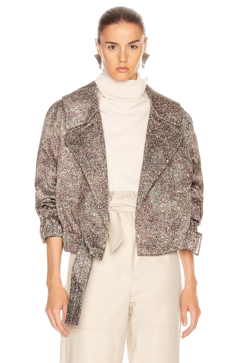 Image 1 of Lemaire Stone Print Jacket in Sienna & Dark Brown