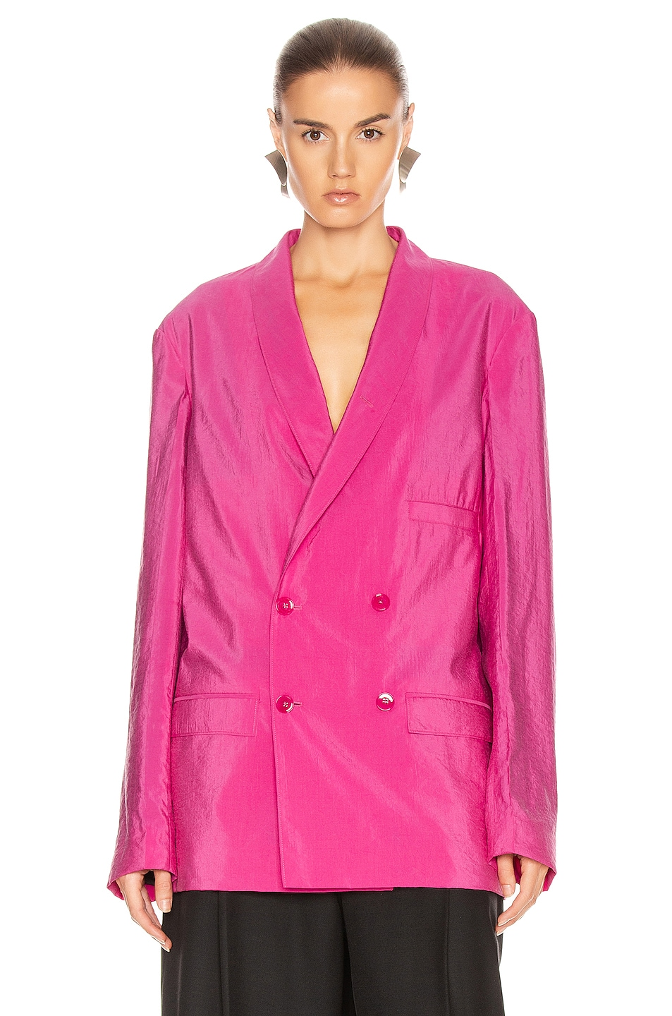 Image 2 of Lemaire Double Breasted Jacket in Fuchsia