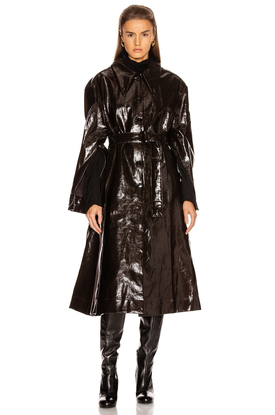 Image 1 of Lemaire Long Shirt Coat in Chocolate Torte