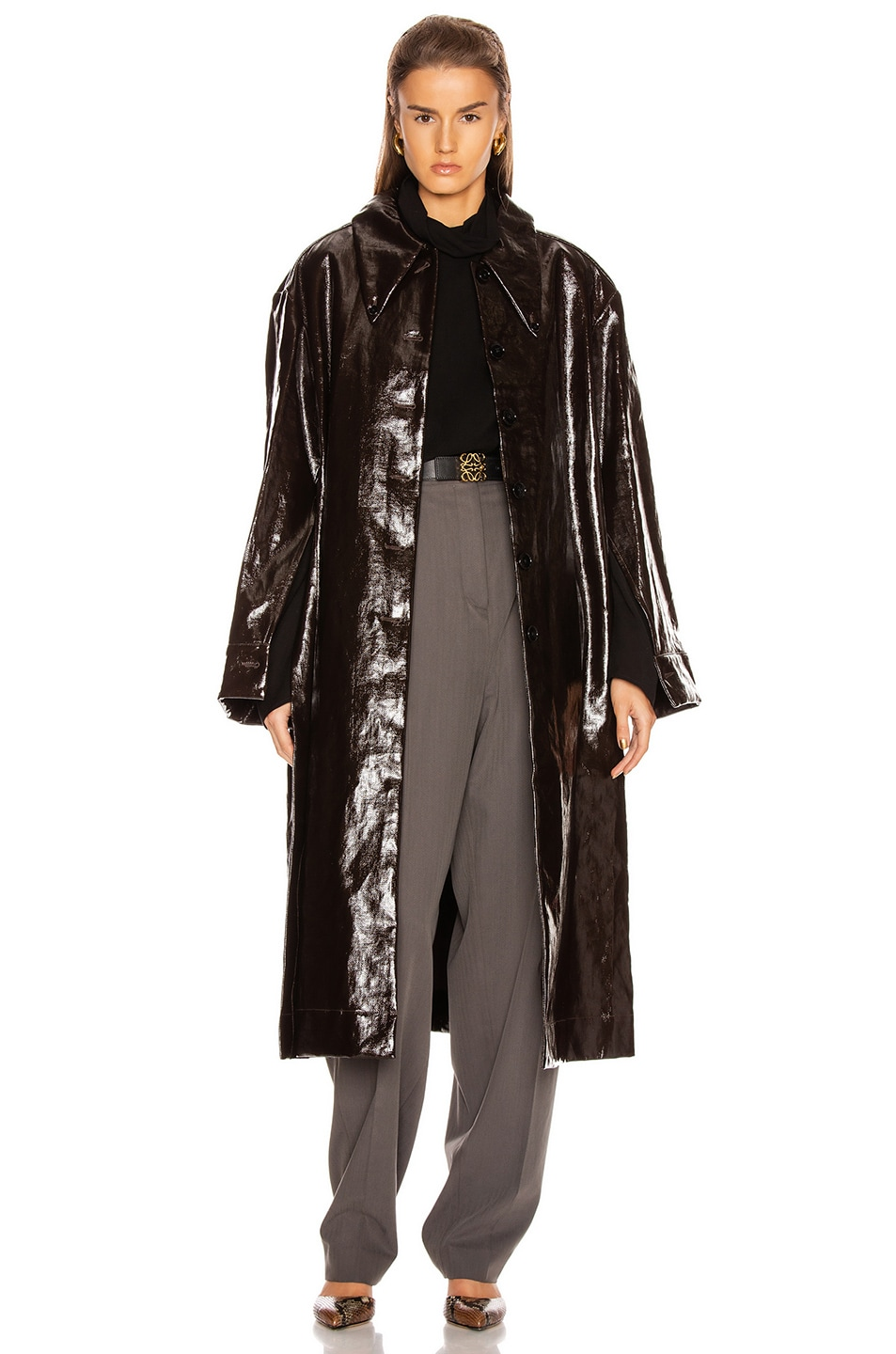 Image 2 of Lemaire Long Shirt Coat in Chocolate Torte