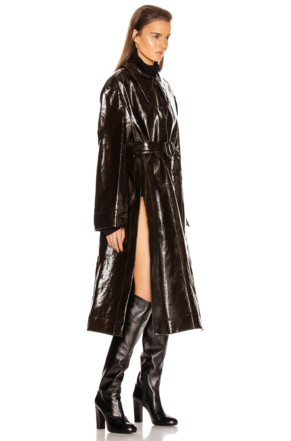 Image 3 of Lemaire Long Shirt Coat in Chocolate Torte