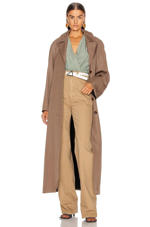 Image 1 of Lemaire Tie Coat in Kraft Brown