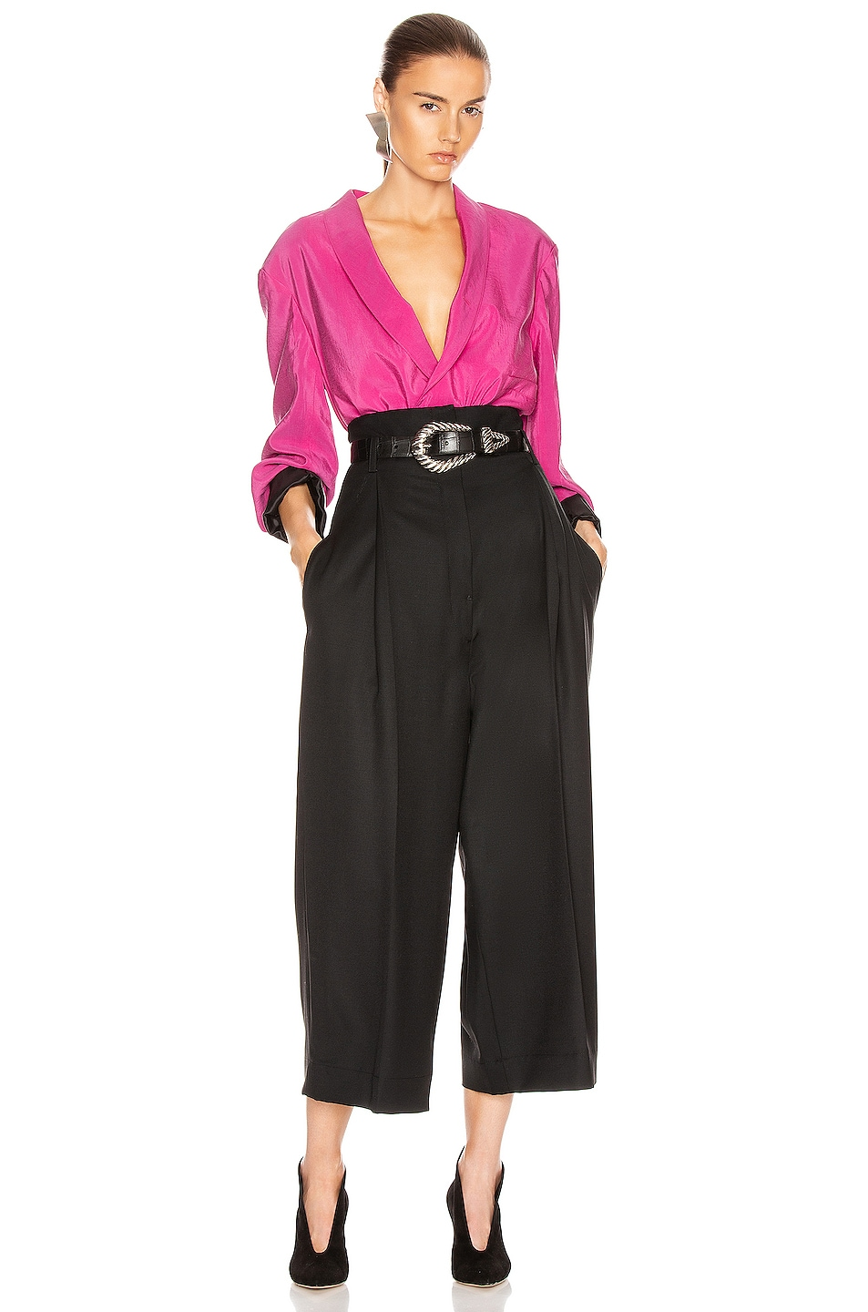Image 4 of Lemaire High Waisted Tailored Pant in Black