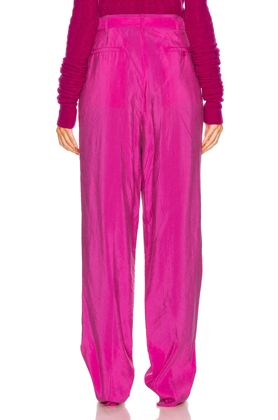 Image 3 of Lemaire Pleated Belted Pant in Fuchsia