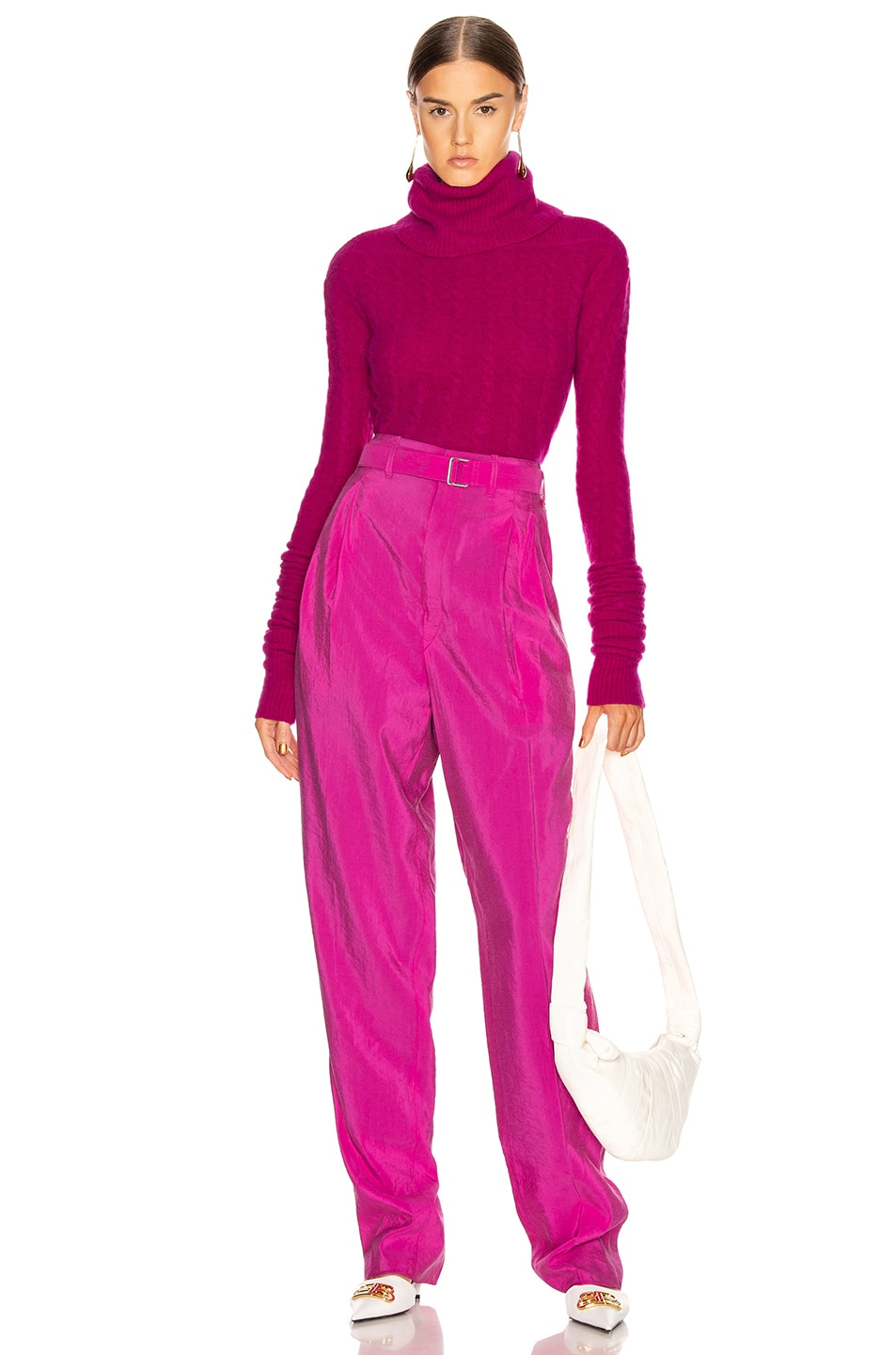 Image 4 of Lemaire Pleated Belted Pant in Fuchsia
