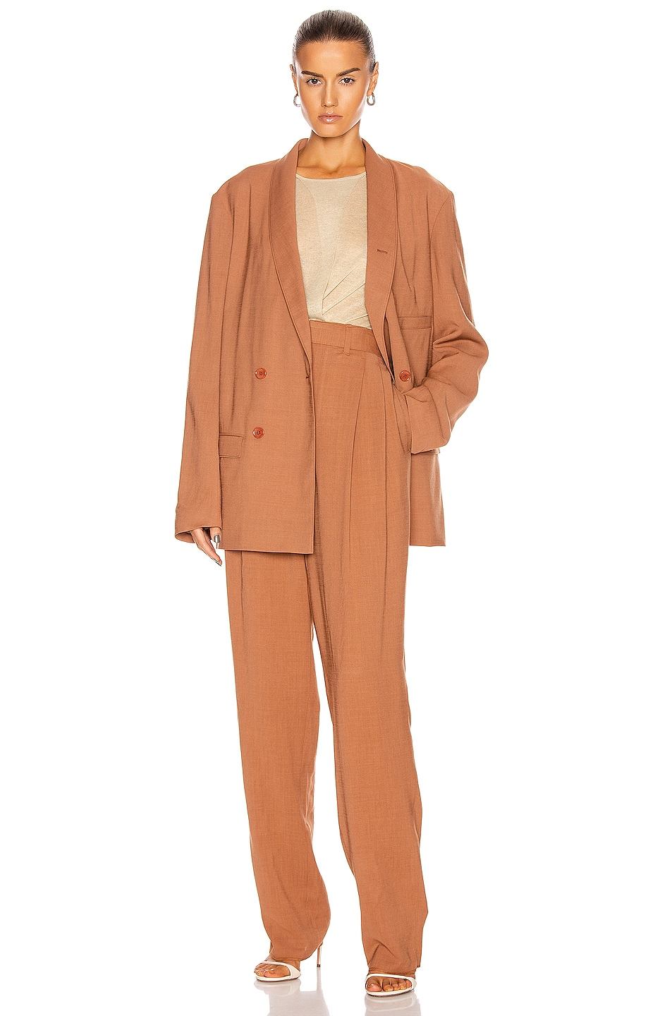 Image 4 of Lemaire Pleated Pant in Copper