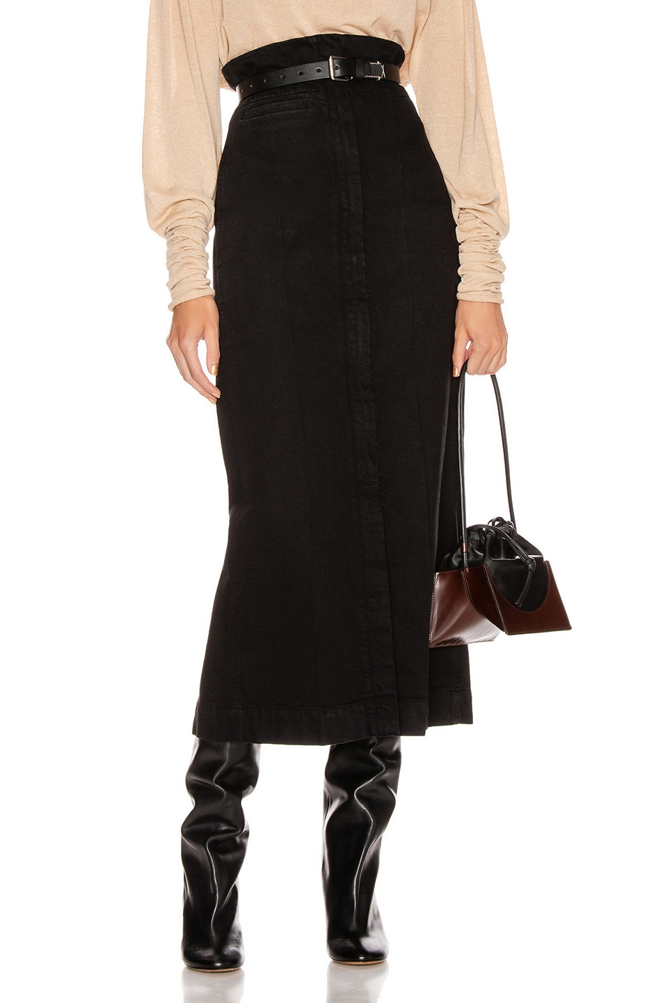 Image 1 of Lemaire High Waisted Skirt in Black