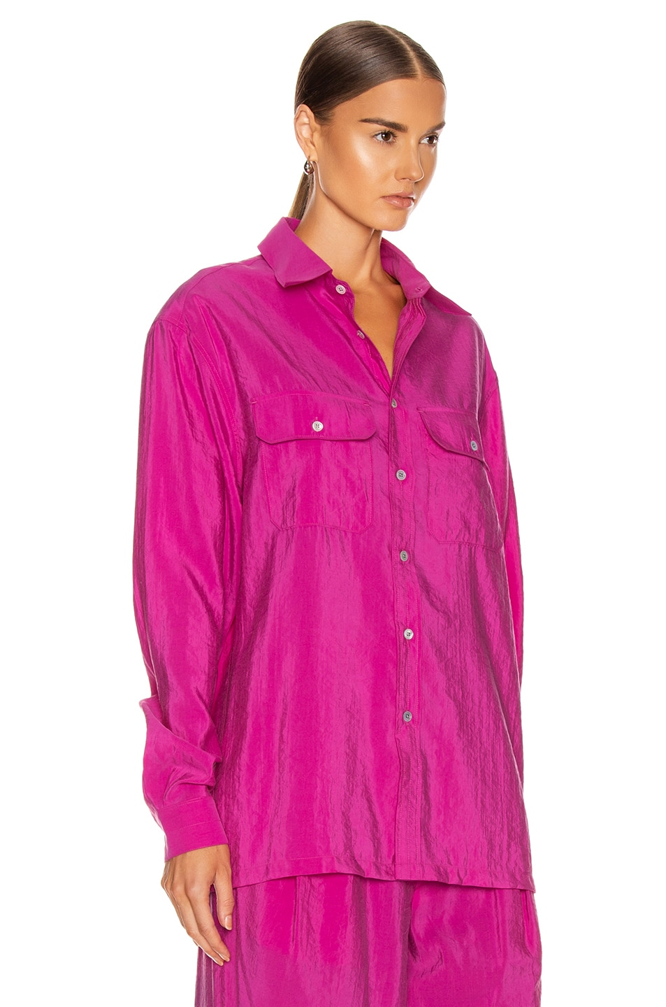 Image 2 of Lemaire Military Shirt in Fuchsia