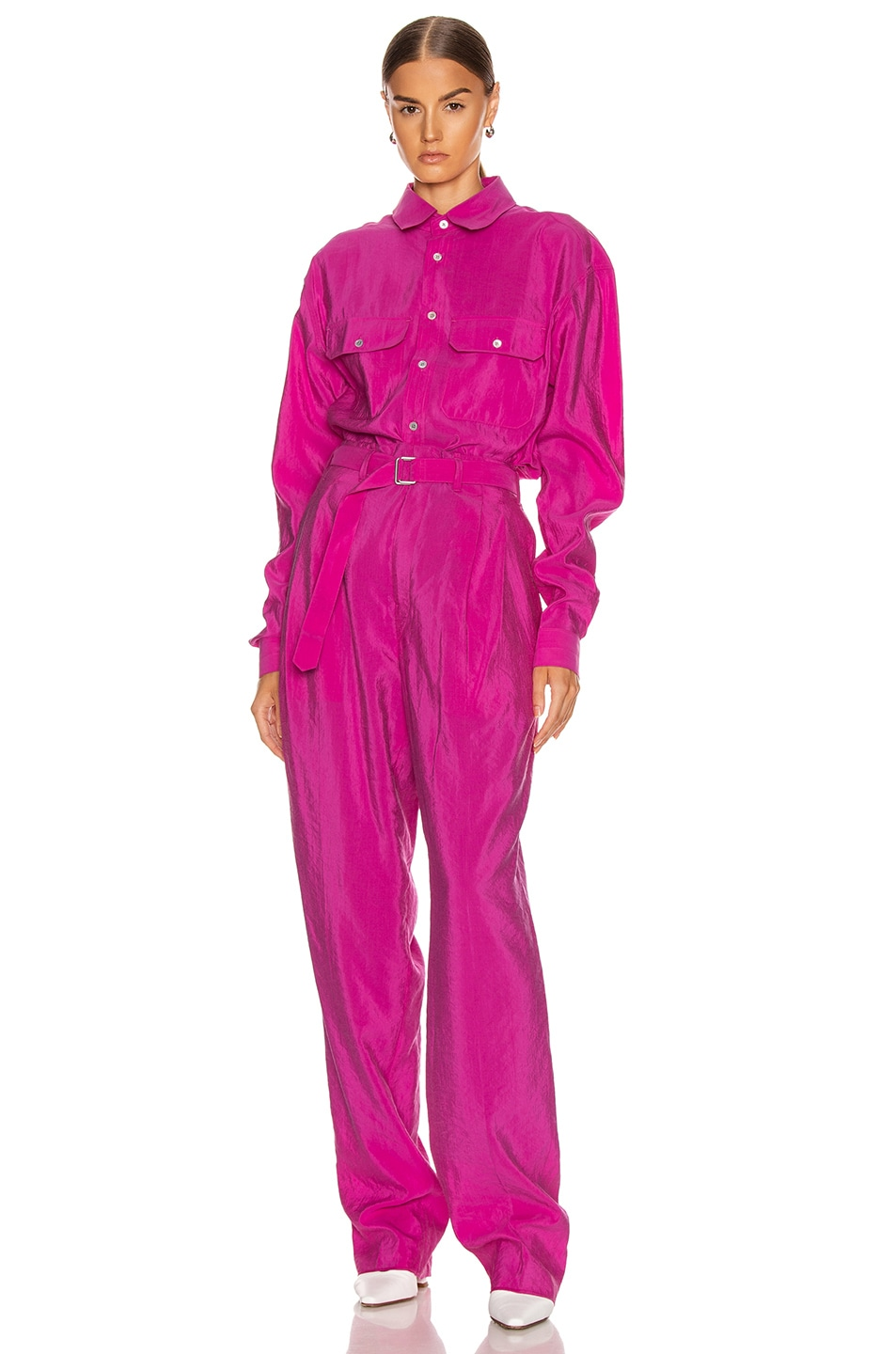 Image 4 of Lemaire Military Shirt in Fuchsia