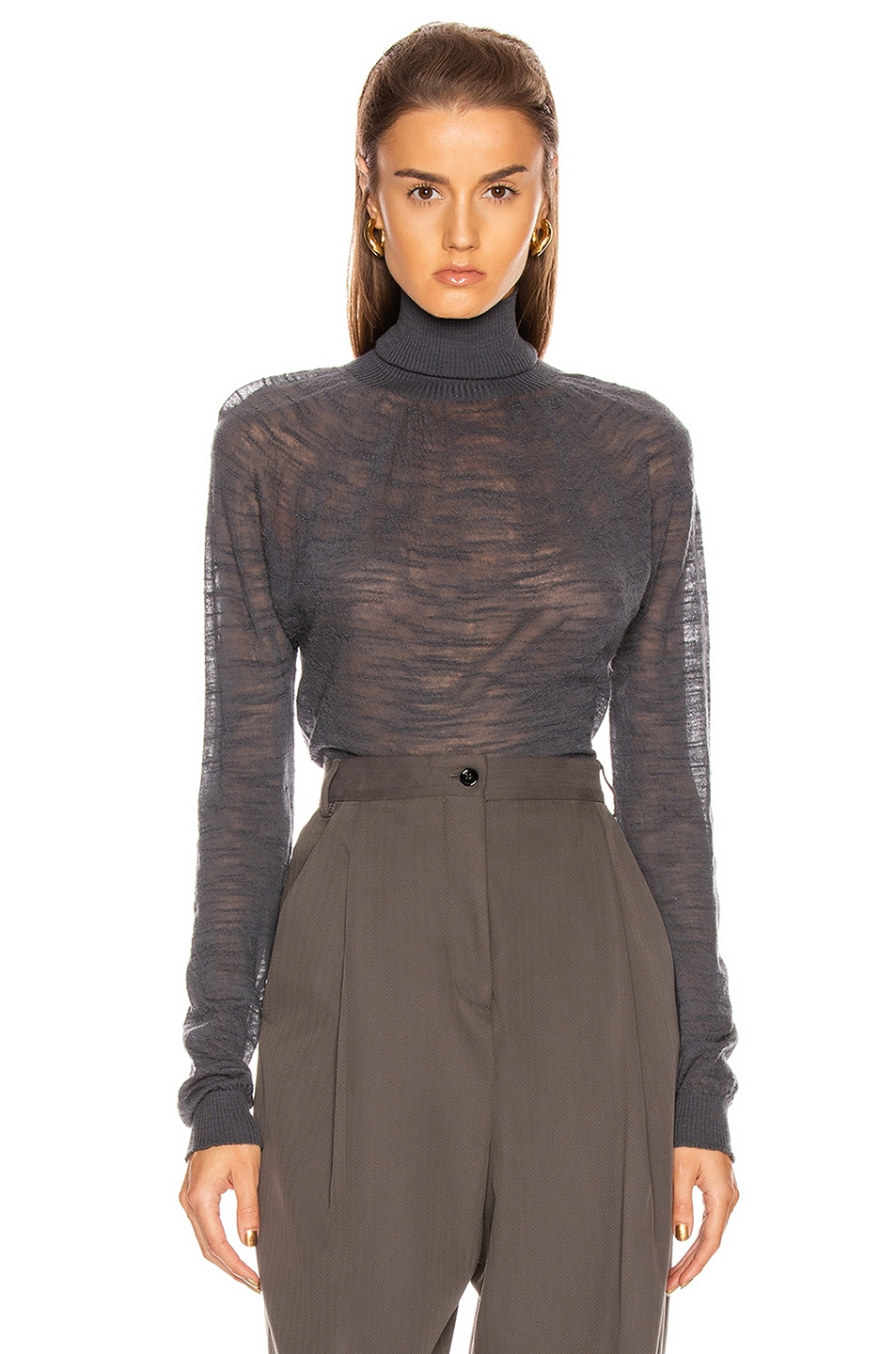 Image 1 of Lemaire Light Turtleneck Top in Stone Grey