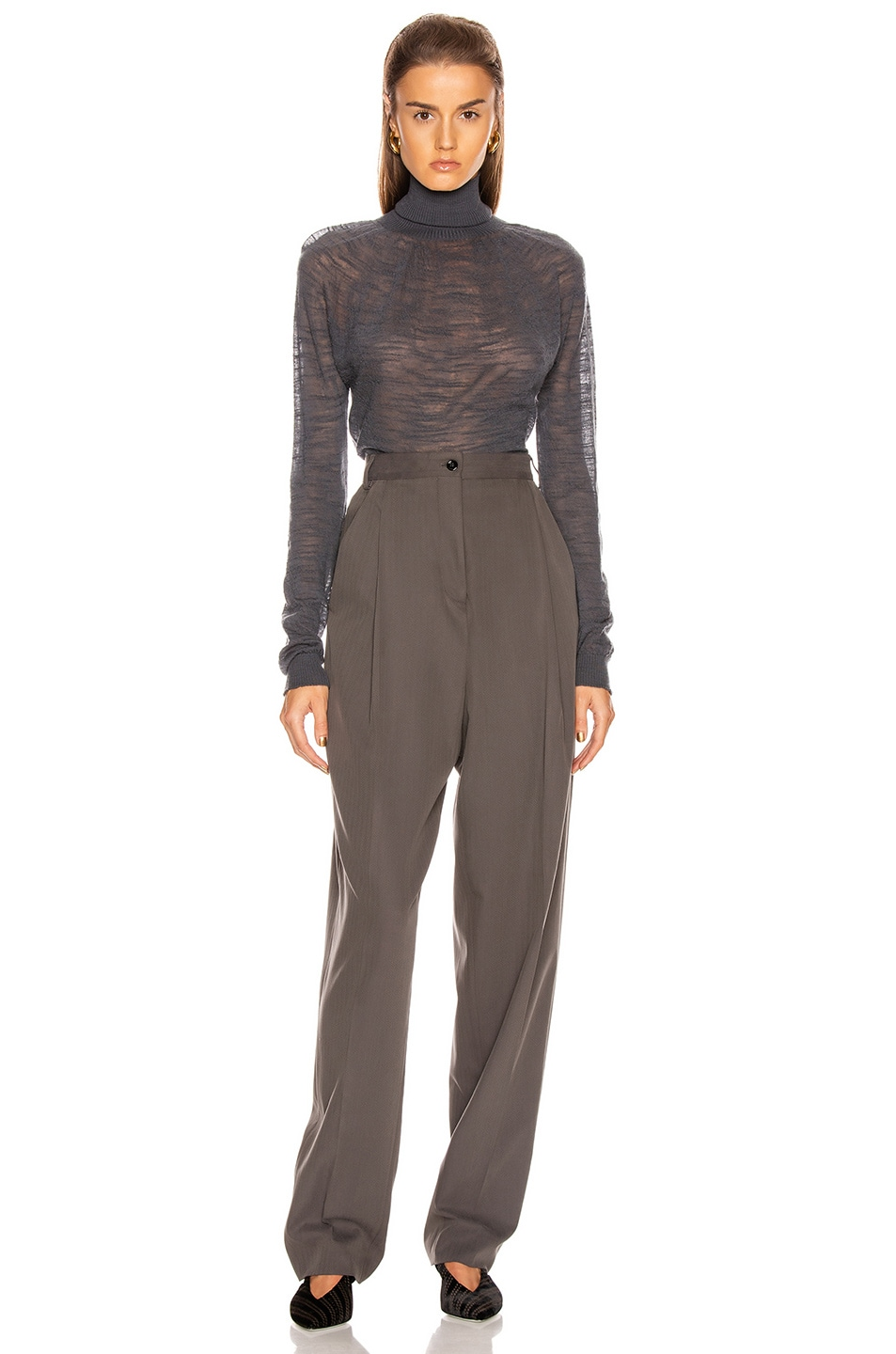 Image 4 of Lemaire Light Turtleneck Top in Stone Grey