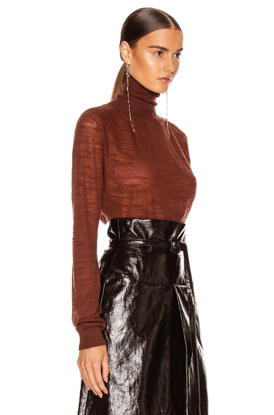 Image 2 of Lemaire Light Turtleneck Top in Terracotta