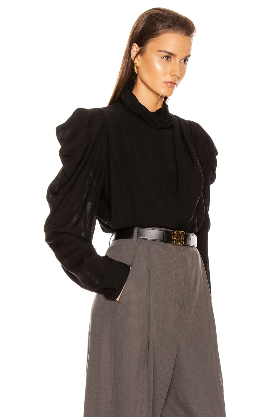 Image 2 of Lemaire Draped Blouse in Black