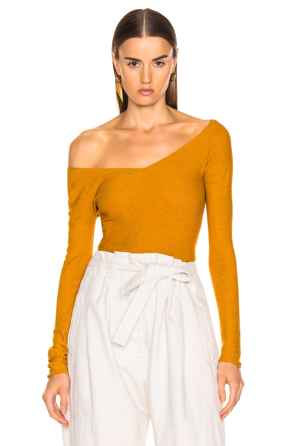 Image 1 of Lemaire V Neck Second Skin Top in Mustard
