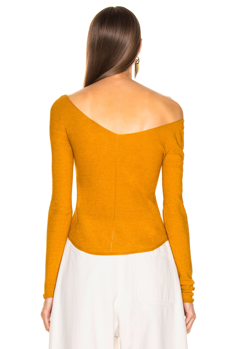 Image 3 of Lemaire V Neck Second Skin Top in Mustard